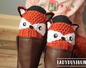 Woodland Animals Fox Boot Cuffs / Crochet Fox / Crochet Boot Cuffs / Fox Boot Cuffs / Fox Socks / Crochet Boot Socks