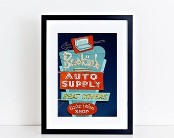 Baskin's Auto Supply Neon Sign | Garage Decor | Masculine Decor | Neon Sign Print | Fresno CA | Roadside America | Retro Roadside