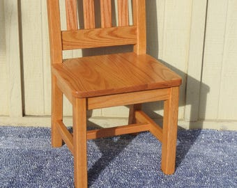 Personalized Tractor Childrenu0027s Chair 12 Inch Seat Height   Honey Brown Oak  Solid Wood Chair