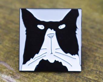 Cat Enamel Pin Badge, Cat Brooch Pin, Cat Lapel Badge, Cute Cat Pin Badge, Cat Badge, Cat Lapel Pin Badge, Black and White Tom Cat Pin Badge