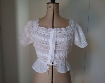 Vintage Antique Edwardian Cotton Top. Embroidered White on White Work. Lace Inserts & Trim.