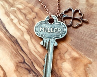 Antique Miller Key Pendant - Skeleton Key Necklace - Mens Key Necklace - Steampunk Key