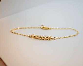 Gold beaded bracelet, Everyday jewelry, Girlfriend gift, Girlfriend bracelet, Minimalist gold Jewelry, Dainty bracelet, BFF gift