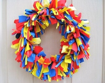 Blue Red Yellow Wreath, Boys Room Decor, Kids Birthday Party Decor, Playroom Decoration, Classroom Decor, Superhero Baby Shower Decor