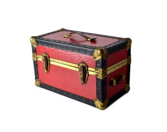 Mini Buxton Red Leather Trunk, Travel Case Small Trunk