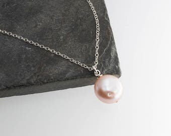 Peach Baroque Pearl Necklace, Minimalist Lariat Necklace, Bridesmaid jewelry, Silver Necklace, Layer necklace, Sterling Silver Necklace