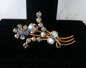 Austrian Crystal Brooch, Blue Austrian Crystal Brooch, Vintage AB Brooch, Vintage Brooch, Brooch