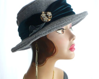 Gray Heather Brim Hat/Fedora with Velvet Band