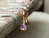 Amethyst Earrings, Amethyst Earrings in Gold or Silver, Gold or Silver Amethyst Triangle Earrings, Amethyst Triangle Earrings, Amethyst