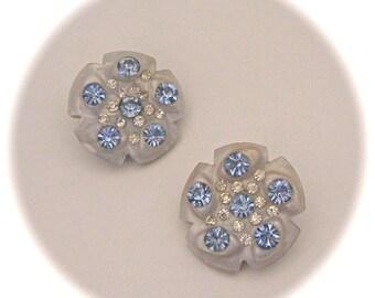 Vintage 50s Sky Blue Stylized FLOWER Mid Century LARGE LUCITE Rhinestone Clip On Earrings