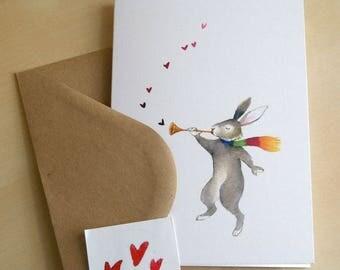 rabbit with golden horn - hearts