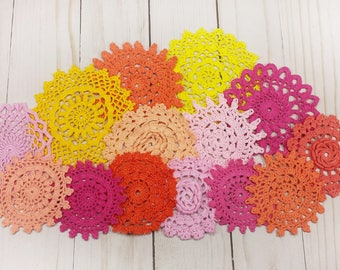 Pink, Orange, and Yellow Hand Dyed Crochet Doilies, Set of 14 Colorful Craft Doilies, Small Doilies, Crochet Mandalas, Bright Colorful Doily