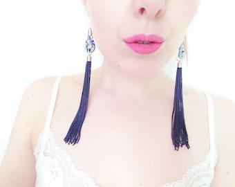 Blue Tassel Earrings - Liberty Fabric Jewelry - Blue Statement Earrings - Extra Long Tassels - Gift for Sister - Festival Earrings