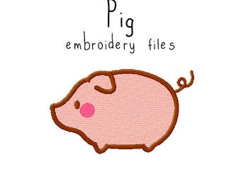 Pig EMBROIDERY MACHINE FILES Instant Download pattern multiple sizes included design pattern digital