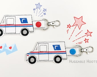 Postal Worker Gift - Mail Truck Snap Tab - Mail Carrier Gift - Mailman Retirement Gift - Mailman Keychain - Gift for Mailman - Mail Keychain
