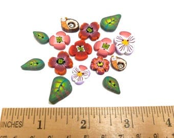 miniature BUTTONS, DIY sewing Craft supplies, Set of 15 mini buttons, embroidery quilting, handmade polymer clay, poppy snail button, pansy