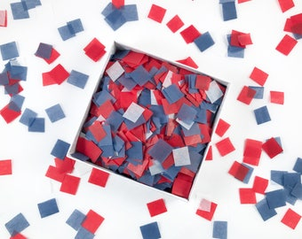 U-S-A! U-S-A! Squares | Patriotic Tissue Paper Confetti / Table Confetti | great for Fourth of July, election day, citizenship party