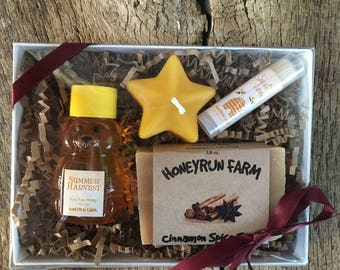 Honey and Soap Gift Package -2 oz Summer Honey, lip balm, handcrafted soap, and beeswax candle