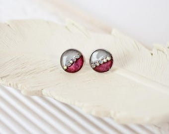Silver and Red Studs, Red Studs, Grey Studs, Gray Studs, Grey Stud Earrings, Burgundy Earrings, Modern Studs, Rhinestone Studs, Round Studs