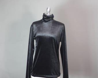 Vintage DKNY Velvet Stretch Turtleneck Luxe Gunmetal Black Long Sleeve Minimalist Top