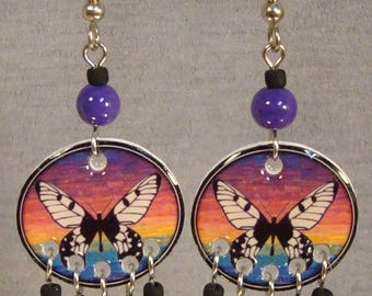 Butterfly Dream Catcher Dangle Earrings - Rainbow Jewelry - Colorful Jewellery
