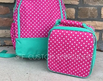 Pink Polka Dot Backpack and Lunchbox with FREE Monogramming, Back to School, Girls Backpack and Lunchbox Set