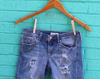 Denim Shorts 25 Blue Jean Shorts Juniors Shorts Distressed Denim Ripped Denim Shorts Frayed Shorts Blue Jean Cut Offs Ripped Jeans
