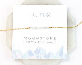 June Birthstone Necklace, Rainbow Moonstone Necklace Silver, Birthday Present, Gold Bar Necklace, Raw Moonstone Choker, Healing Gemstone