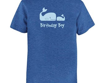 Birthday Shirt Whale Pair Kids Ocean Animal Fish Birthday Boy Tee - Multiple Colors - PolyCotton Blended Kids Tshirt - Gift Friendly