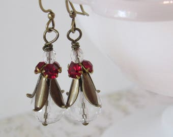 Floral Dew Drop Dangle Earrings // Ruby Red & Quartz Crystal