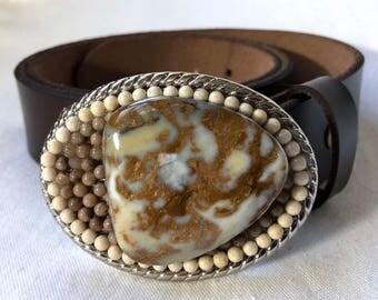 Clouds in My Coffee Brown and Cream Jasper Beaded Belt Buckle