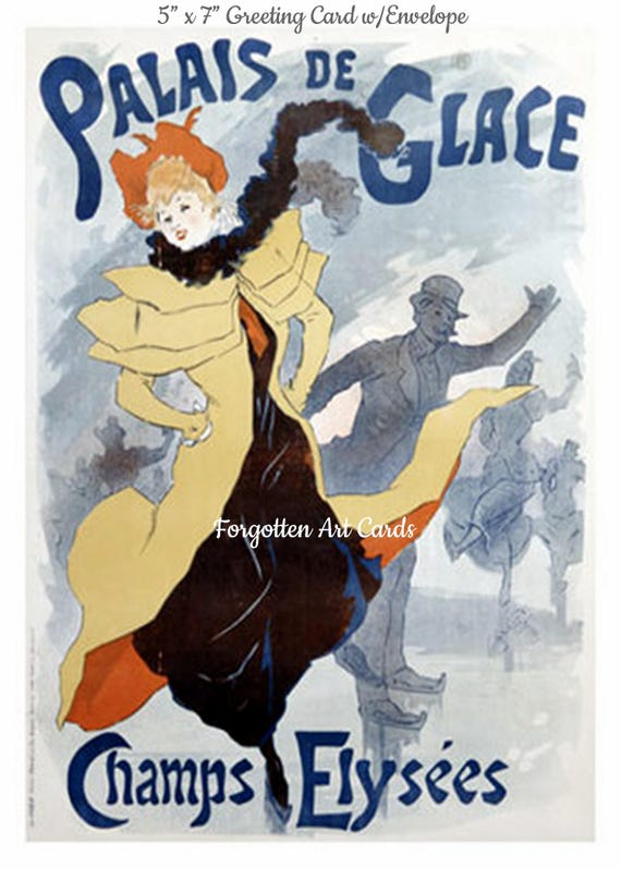 Palais de Glace Ice Skate Paris Greeting Card + Envelope Skating Rink French Champs Elysees Forgotten Art Card Pretty Girl Postcards