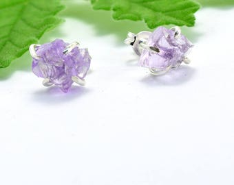Raw amethyst studs, sterling silver amethyst earrings rough stone studs, uncut lavender stone earrings, purple stud, amethyst jewelry