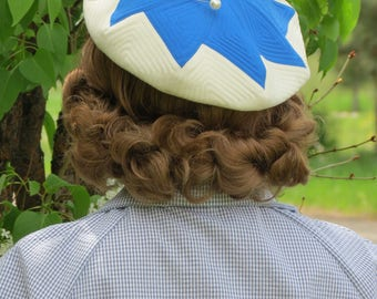 Vintage 1950s style Handmade Quilted Beret, Tam, French Blue and Off White Pinwheel Hat