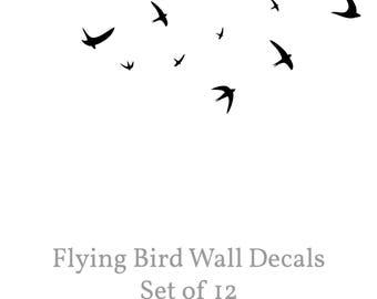 Bird Wall Decal,  Flying Bird Wall Decal, Set of 12 Swallows, Minimal Birds Decal, Vinyl Bird Stickers, Removable Flying Bird Vinyl Decal