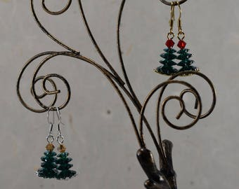 Frosted Dark Green Crystal Christmas Tree Earrings