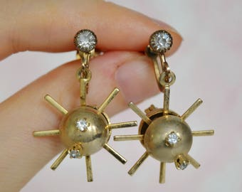 Vintage Screw-Back Earrings of Gold-Tone Metal and Clear Rhinestone Adorned Starbursts