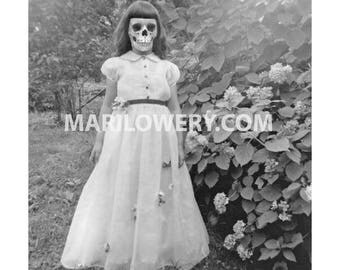 Creepy Halloween Wall Art Print, Black and White Skeleton Girl with Skull Face Macabre Halloween Decor, 7x7 on 8.5 x 11 Inch Paper