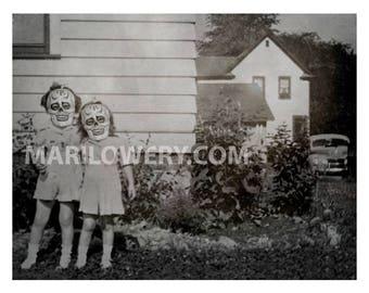 Creepy Halloween Wall Decor Black and White Girls in Skull Masks 11 x 8.5 Inch Halloween Wall Art Print