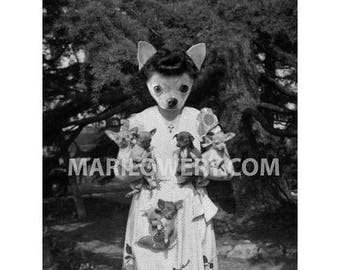 Chihuahua Art, 8 x 10 Inch Dog Art Print, Black and White, Collage, Woman Holding Puppies, Animal in Clothes, Year of the Dog