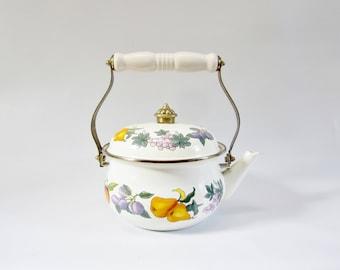 Vintage Kettle Stovetop Teapot FRUIT Design Enamelware by ESSENCE 1980s