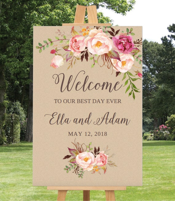 wedding welcome sign template wedding welcome sign printable wedding sign 16x20 18x24 24x36. Black Bedroom Furniture Sets. Home Design Ideas