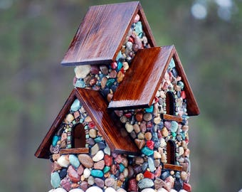 Large mosaic birdhouse with 3 bird compartments. Sping birdhouse for multiple birds, stone birdhouse, nature lover gift, outdoor garden art