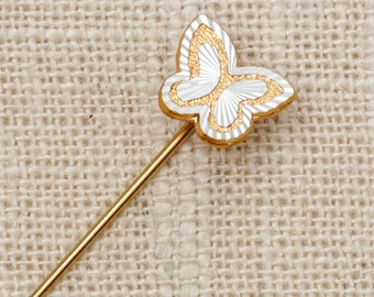 Butterfly Stick Pin Silver Gold Vintage Stickpin 7R