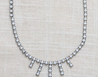 Rhinestone Necklace Vintage Dainty White & Silver Costume Jewelry 7AA 18