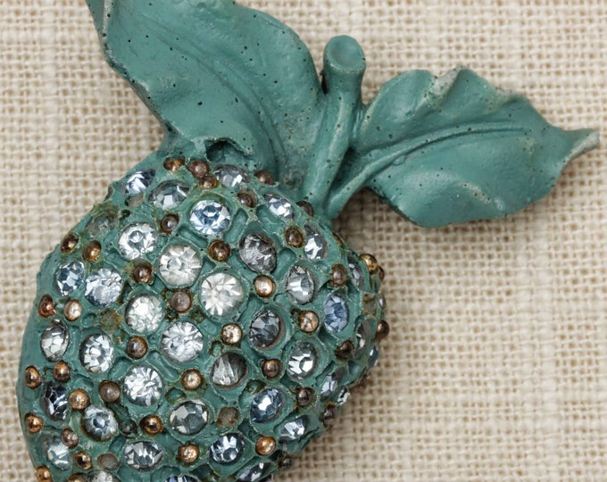 Turquoise Apple Brooch Vintage Rhinestones Large Novelty Broach Vtg Pin 7T