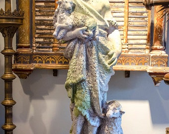 Stunning St John the Baptist Statue as a Child, with Lambs, Large Size, Gorgeous!