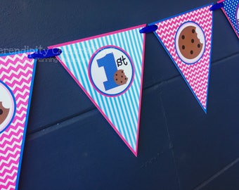 Pennant Banner, Personalized Small Pennant Banner, Photo Prop, Cookie Monster Banner, Girl Cookie Monster Party Banner, Birthday Banner