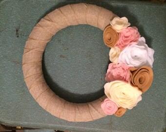 Lovely Shabby Chic Burlap Rose Wreath