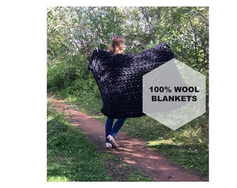 Chunky Knit Throw | Over-sized Knit Throw | Extreme Knit Throw | Bulky Knit Throw | Extreme Knit Blanket | Merino Wool Blanket